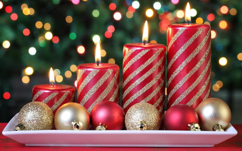 圣诞蜡烛高清桌面壁纸