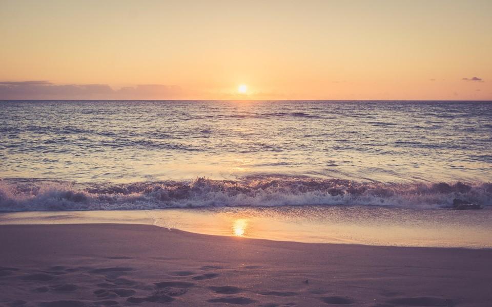 笔记本壁纸 自然风景壁纸 海滩日落超大高清壁纸下载