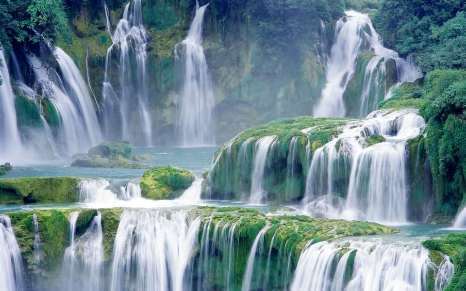 笔记本壁纸 自然风景壁纸 绝美瀑布高清壁纸下载   壁纸下载: 1366x76