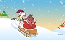 小猪滚滚圣诞节壁纸