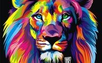 时尚流行梦幻炫酷彩色狮子壁纸