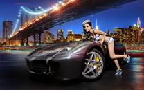 法拉利599改装车美女模特伊彦宽屏壁纸