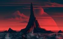 唯美红色夕阳动漫风景图片壁纸