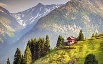 唯美朴素的林间小屋图片壁纸