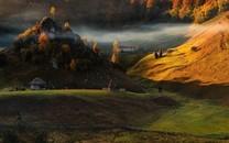 深秋风景之林中小屋风情图片壁纸