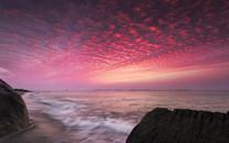 福建海岸的日出日落壁纸