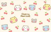 樱桃哈咪猫卡通图片壁纸